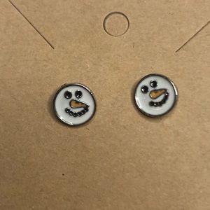 Earrings Post Snowman